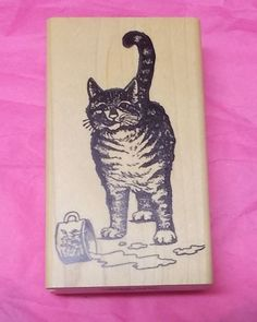 Stamp Magic Hungry kitty cat rubber stamp licking lips spilled milk wood mounted #StampMagic #CatsFelinesHumor