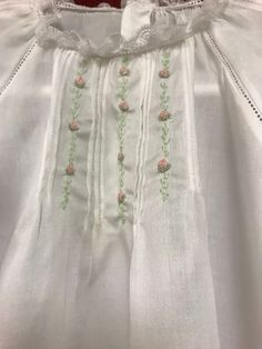 Tucks and Roses ♥ Baptism Gown, Christening Gowns, Frocks And Gowns, Smocking Patterns, Hand Embroidery Designs, Embroidery Patterns, Pakistani Dress Design, Embroidered Clothes, Heirloom Sewing