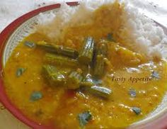 Drumstick sambhar with rice