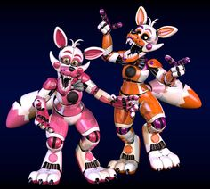 Her they are, Funtime Foxy and Lolbit, complete with endo and all. reall proud of how they turned out, and as you may notice, I edited the mats a bit (t. Stylized Funtime Foxy and Lolbit Five Nights At Freddy's, Freddy S, Fnaf Oc, Foxy And Mangle, Make A Character, Fnaf Characters, Fnaf Drawings, Funtime Foxy, Fnaf Sister Location