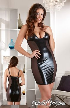 Cottelli Collection Wet Look Dress Net Sides - Sizes: Small, Medium, Large and X Large. £39.99 www.playtimeonline.co.uk