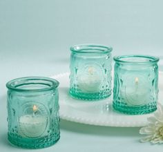 Vintage Blue Glass Tealight Candle Holders - Party City 4 per set, 1-24 sets/$6.00 per set