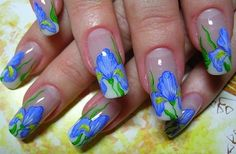 nail art with Van Gogh iris theme