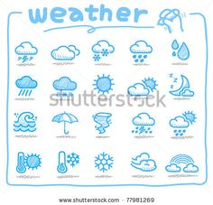 Pure series | Hand drawn weather icons - stock vector
