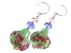 Calla Lily Lampwork Glass Bead Earrings, Handmade Flower Earrings, Mint Green Fuchsia Glass Earrings