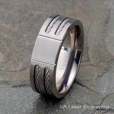 Wedding Bands Other Themed Bands Titanium 8mm Laser Design Brushed Band Size 12