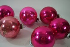 Vintage Christmas Ornaments, Lot of 6, Glass Ornaments, Ornaments, Large Glass…