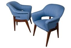 vintage blue chairs