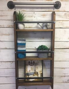 reclaimed wood mug rack urban rustic. Perfect For A Workspace Or Kitchen, This Wood And Metal Wall Decor Ladder Shelf Will Keep You Organized. Cute Piece Of Home Is Accent To Reclaimed Mug Rack Urban Rustic R