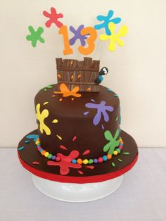 paintball birthday cake - chocolate fondant covered cake with fondant and sugar paste decorations.  thanks to other CCers for great ideas