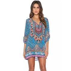 Yoyorule Women Bohemian 34 Sleeve Vintage Printed Ethnic Style Shift Dress >>> You can get more details by clicking on the image.
