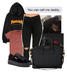 """""""Thrasher"""" by melaninaire ❤ liked on Polyvore featuring Marc Jacobs, MAC Cosmetics, Givenchy and Puma"""