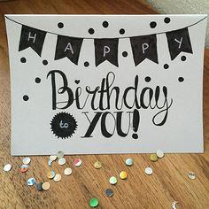 • Happy Birthday To You • (voor mijn lieve jarige vriendinnetje) . . . . #happybirthday #handlettering #confetti #diy #brievenbusgeluk #echtepostiszoveelleuker