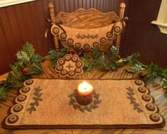 Holly & Berries Penny Rug Runner Chair Swag and  Mini Mat