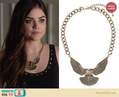 Aria's eagle necklace on Pretty Little Liars. Outfit Details: http://wornontv.net/26903 #PLL #fashion