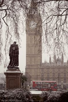 Winter in London - snowy Big Ben in Westminster