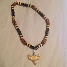 Shark Tooth & Wood Necklace by SustainableJewellry on Etsy