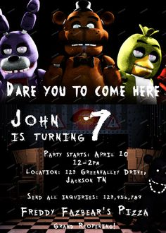 Five Nights At Freddys Personalized Invitation Birthday 5