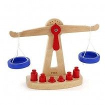 Viga - Wooden Balance Scale;  has a very Montessori feel to learning about weights #EntropyWishList #PinToWin