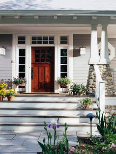 white molding around brown wood front door