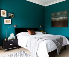 Innovative bed slats in Bedroom Contemporary with White Linen next to Bedroom Paint Color alongside Cherry Furniture and Bedroom Wall Color Aqua Blue Bedrooms, Teal Bedroom Walls, Dark Teal Bedroom, Teal Rooms, Bedroom Wall Colors, Home Decor Bedroom, Bedroom Ideas, Peacock Blue Bedroom, Master Bedroom