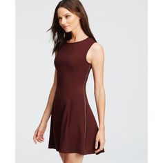 Ann Taylor Petite Braid Seamed Flare Dress ($139) ❤ liked on Polyvore featuring dresses, dark autumn plum, plum dress, woven dress, ann taylor dresses, shiny dress and sleeveless dress