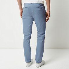 Light blue stretch slim chino trousers