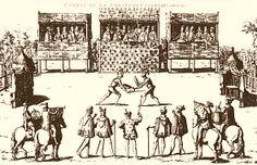 Duel. Combat entre La Châtaigneraie et Chabot.- Coup de Jarnac :L'affaire n'en reste pas là. Dès la mort de François I° (31 mars 1547) Vivonne insiste pour en découdre avec Chabot auprès de Henri II, qui accorde sa permission. Véritable athlète, Vivonne était connu comme le meilleur bretteur du royaume.