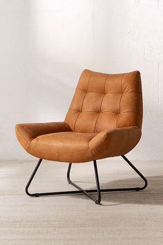 modern but comfy leather lounger chair - urban outfitters