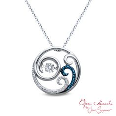 Open Hearts Waves by Jane Seymour™ Diamond Accent Waves Pendant in Sterling Silver  - Peoples Jewellers