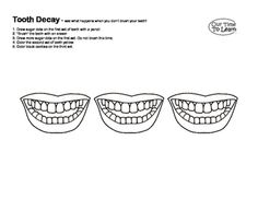 "In this coloring sheet students learn what happens to teeth if they are not taken care of over time. From the Our Time to Learn workbook, ""About Me"". For preschool, kindergarten, home school, and 1st grade."