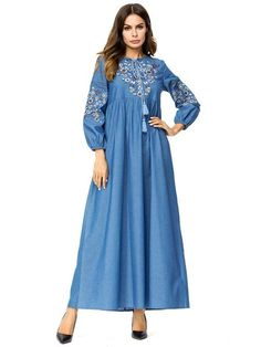 3e99502b8db674 Royal Hijab Denim Abaya Flowers Embroidery  23. Denim AbayaMexican  EmbroideryVintage EmbroideryMuslim DressKaftan GownWomens ...