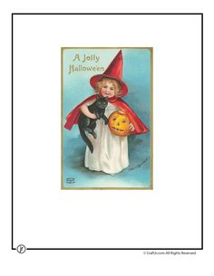 Printable Vintage Halloween Cards Cute Cat and Witch Vintage Halloween Postcard – Craft Jr.