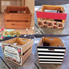 Before & After - Produce Crate using and decoupaged with Graphic from Karen at the wonderful… Hamper, Crates, Organization, Home Decor, Getting Organized, Organisation, Decoration Home, Room Decor, Tejidos
