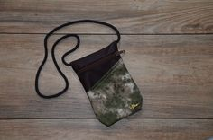 camouflage green pattern with dark brown imitation leather