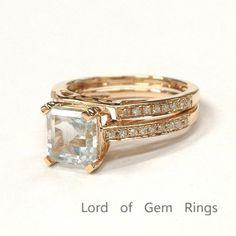 Asscher Aquamarine Engagement Ring Sets Diamond  Wedding Band 14K Rose Gold 6.5mm