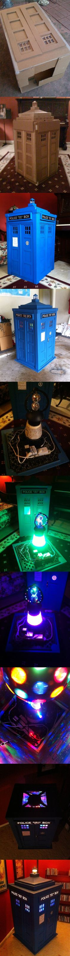 "Description: ""This ~ 1/3rd scale Tardis was constructed with primarly recycled cardboard boxes (Uhaul, FedEx, Pizza...) and is powered by wireless remote (Rotating disco balls, sound activated LEDs, fog machine) along with an internal Bluetooth speaker wirelessly connected to my iPhone/iPad... any audio from  my phone  goes through the Tardis... Essentially a Tardis Jukebox!"""