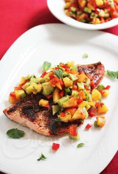 Chili Salmon with Peach Kiwi Avocado Pepper Salsa