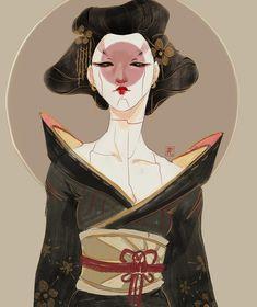 jia last geisha bot. Geisha Kunst, Geisha Art, Geisha Makeup, Geisha Drawing, Geisha Tattoo Design, Cyberpunk Kunst, Art Sketches, Art Drawings, L5r