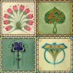Coasters - Set of 4 - Art Nouveau Tile Designs