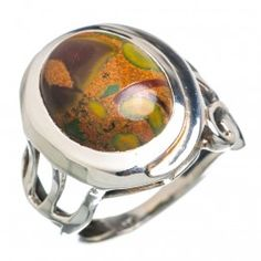 925 SOLID STERLING FINE SILVER RAINFOREST  OPAL RING
