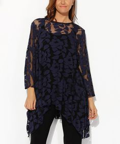 Blue Lace Sidetail Tunic - Plus by Hüseyin KÜÇÜK #zulily #zulilyfinds