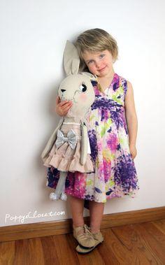 Nellystella Jaslyn Hydrangea Dress, Django Moccasins & Cloth and Thread Rosa Rabbit // PoppysCloset.com #easter #basket #dresses