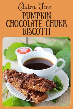 Our Gluten-Free Pumpkin Chocolate Chunk Biscotti Recipe contains all the best of fall ingredients! Along with all the normal pantry cooking ingredients, you'll need pumpkin puree, dark chocolate chunks, and pumpkin spice coffee. It's the best possible fall biscotti to go along with your morning cup of joe! || cookingwithruthie.com #pumpinkspice #coffee #biscotti #glutenfree #pumpkinbiscotti #pumpkincoffee