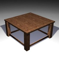 3D - model square wooden table TABLE 01