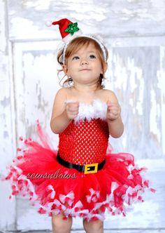Christmas Santa Tutu with Santa hat headband Santa by SewsnBows