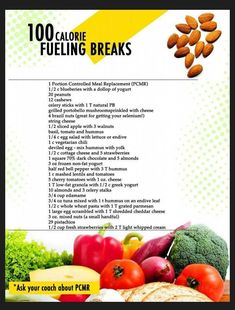 100 calorie fueling breaks Use this list to help you along your journey when looking for nutritious food to snack on.staceyhawkins… for lean and green recipes and spices that will make sure your food never gets boring! 100 Calorie Snacks, Healthy Snacks, Healthy Recipes, Snacks Recipes, Lean Snacks, Healthier Desserts, Healthy Eating Habits, Healthy Breakfasts, Ww Recipes