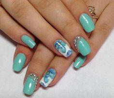 2 sheets Blue Flower Nail wrap, Floral Nail Art, Nail Design, Water Decals, Nail wrap, Blue Rose, Nail Decorations, Teens, Nails, Womens