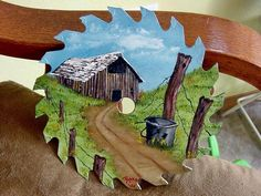 hand painted saw blade, in oils, $20