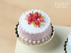 Pastel Cake - Pink, Decorated with Red Fruit, Berlingot Candy - Miniature Food in 12th Scale for Dollhouse